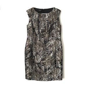 LAFAYETTE 148 Gray Metallic Textured Midi Dress 12